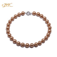 JYX 2019 charming necklace coffee 20mm Seashell Pearl Round Beads Necklace high quality 18 elegant jewelry for women