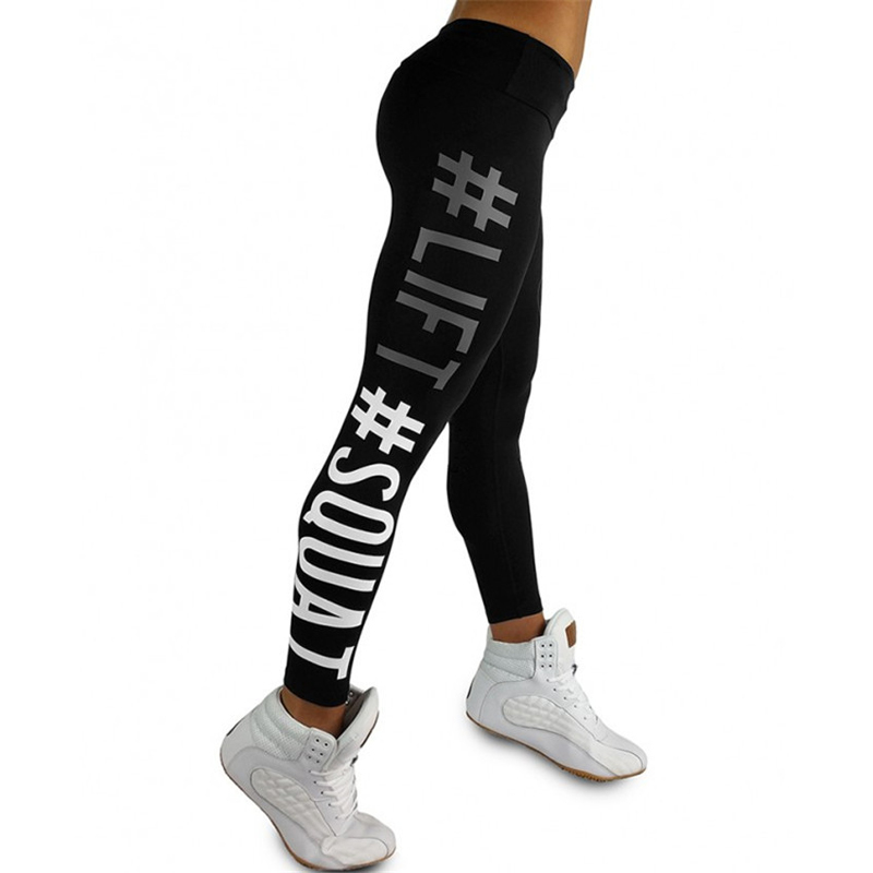 New Tightening   Leggings   Women Leggins Female Elastic Pant Capri Women Fitness   Leggings   Letters Print Slim Trouser