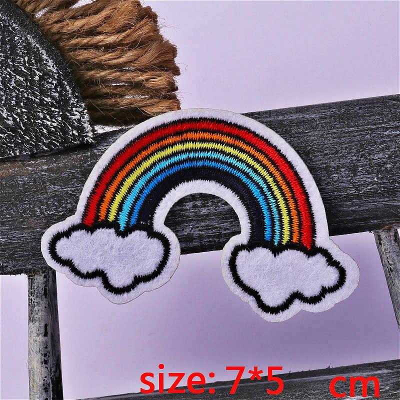 1 шт. радуги и облака, клеящиеся утюгом украшения матерчатая заплата мультяшный значок аппликация для одежды аксессуары