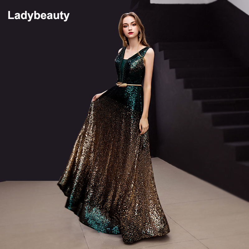 Ladybeauty 2019 New Arrival Gradient Sequined Evening Dress V-Neck Sleeveless Simple Evening Gowns Long Party Perspective Dresse