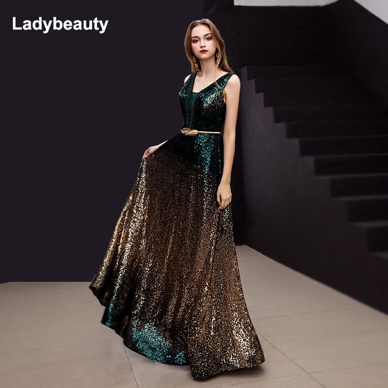 Ladybeauty 2019 nouveauté dégradé paillettes robe de soirée col en v sans manches Simple robes de soirée longue fête perspective Dresse