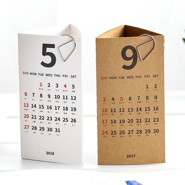 1 Pcs Set Novelty 2018 Year Simple Kraft Paper Natural White Color Planner Note Desk
