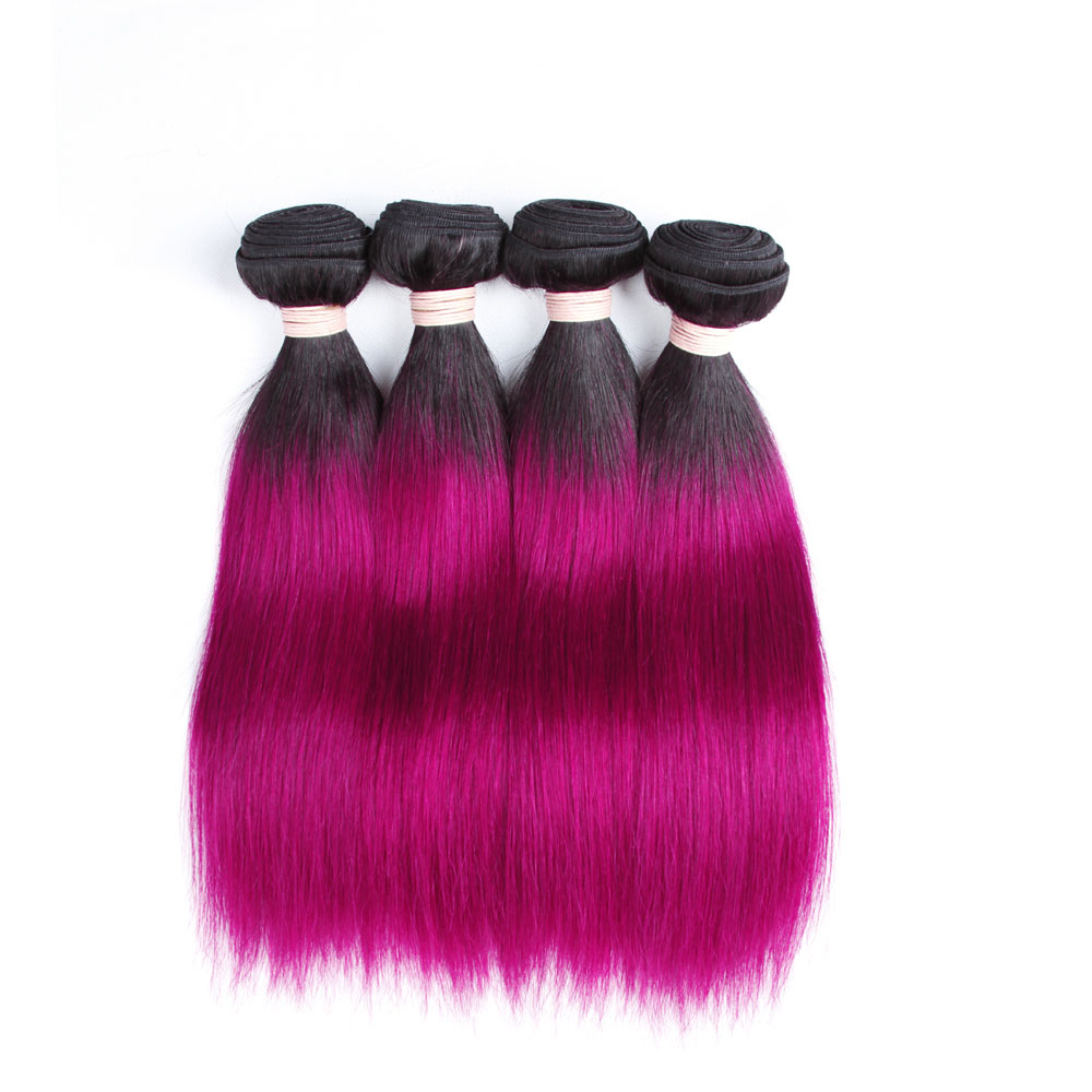 BEAUDIVA Pre-Colored Ombre Brazilian Straight Remy Hair 1B Purple Ombre Color Human Hair Weave Bundles 3PC Human Hair