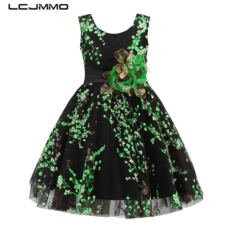 LCJMMO 2017 New Fluorescent Green Flower Girls Dresses for Wedding Party Ball Gown Birthday Girl Dress Children Clothes 2-9Years