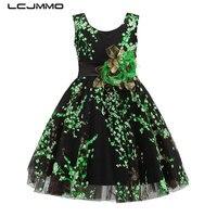 LCJMMO 2017 New Fluorescent Green Flower Girls Dresses For Wedding Party Ball Gown Birthday Girl Dress