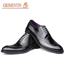 GRIMENTIN Luxury Oxford Shoes Men Flats Genuine Leather Shoes Brand Designer Wingtip Carved Italian Luxury Formal