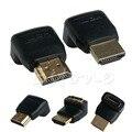 2x270 + 90 Grados de Ángulo Recto HDMI Macho a Hembra M/F Adaptador de Conector Extender