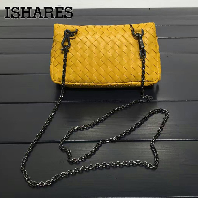 ISHARES woven sheepskin chain crossbody bags genuine leather zipper lambskin clutches cover closure women small bags IS168025