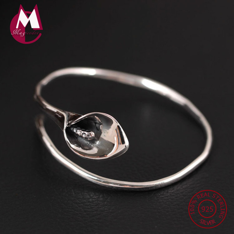 S999 Sterling Silver Bracelet & Bangle For Women Original Vintage Calla Lily Bracelets Cuff Flowers Jewelry Accessories YB16 недорго, оригинальная цена