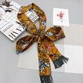 Luna&Dolphin Womens Small Long Silk Scarf Queens Little Flowers Printed Chiffon Scarves 190x6cm Little Scarf Handbag Ribbon