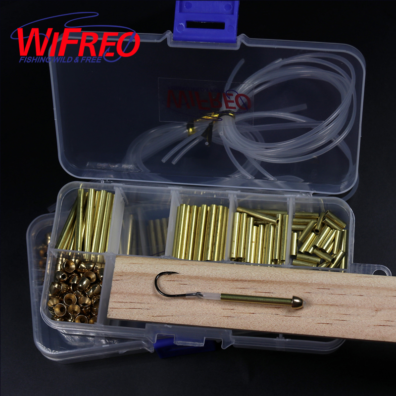 Wifreo Tube Fly Tying System Combo Set 3mm Brass Tube + Cones+ Liner Tube + Junction Tube Salmon Steelhead Fly Tying Material wifreo 5pcs natural color black white dot plume feather fly tying wing tail material 13 16cm length