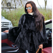 FURSARCAR Luxury New Real Mink Fur Coats Women Bat-sleeved Winter 70 CM Mid-Long Genuine Leather Female Coat