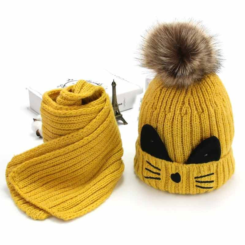 Cute 3-10yrs Kids Knit Fleece Hat Scarf Winter Cap Boys Girls Warm Cat Ears Hat Yellow Red Blue Grey Pink Black