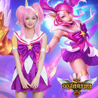 2018 LOL new Skin Star Guardian Lux cosplay costume for girls The Lady Of Luminosity Lux Cosplay Uniform Halloween Costumes