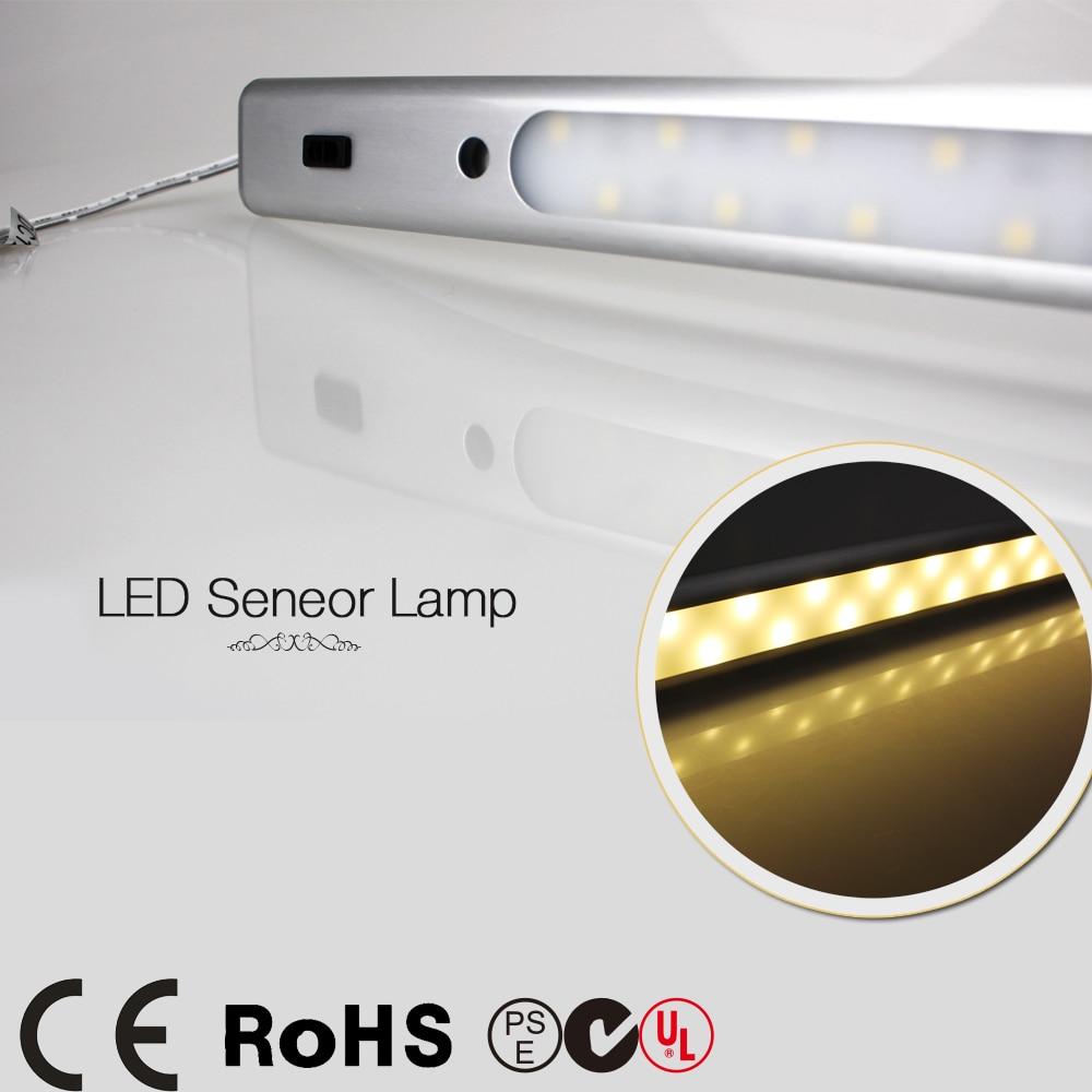 где купить  5pcs 50cm 0.5m 450LM 7.5W 5050 12V LED Motion IR infrared induction Sensor cabinet light night wall closet bar tube lights lamp  по лучшей цене