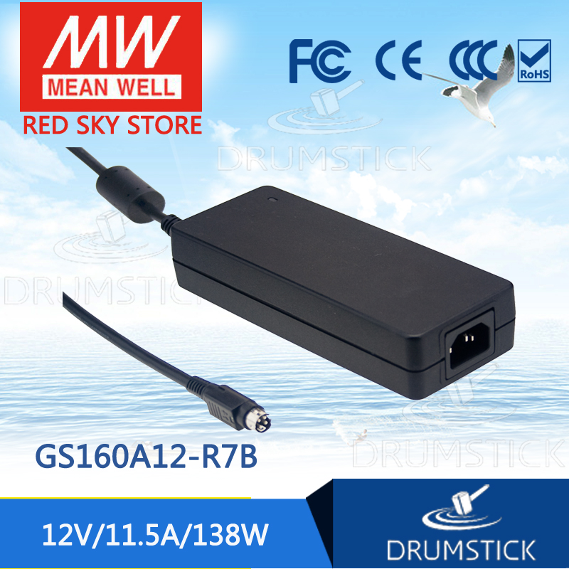 (Only 11.11)Hot sale MEAN WELL GS160A12-R7B (2Pcs) 12V 11.5A meanwell GS160A 12V 138W AC-DC Industrial Adaptor best selling mean well gst160a12 r7b 12v 11 5a meanwell gst160a 12v 138w ac dc high reliability industrial adaptor