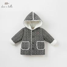 Db8706 dave bella bebê menino jaqueta crianças outerwear moda casaco preto branco