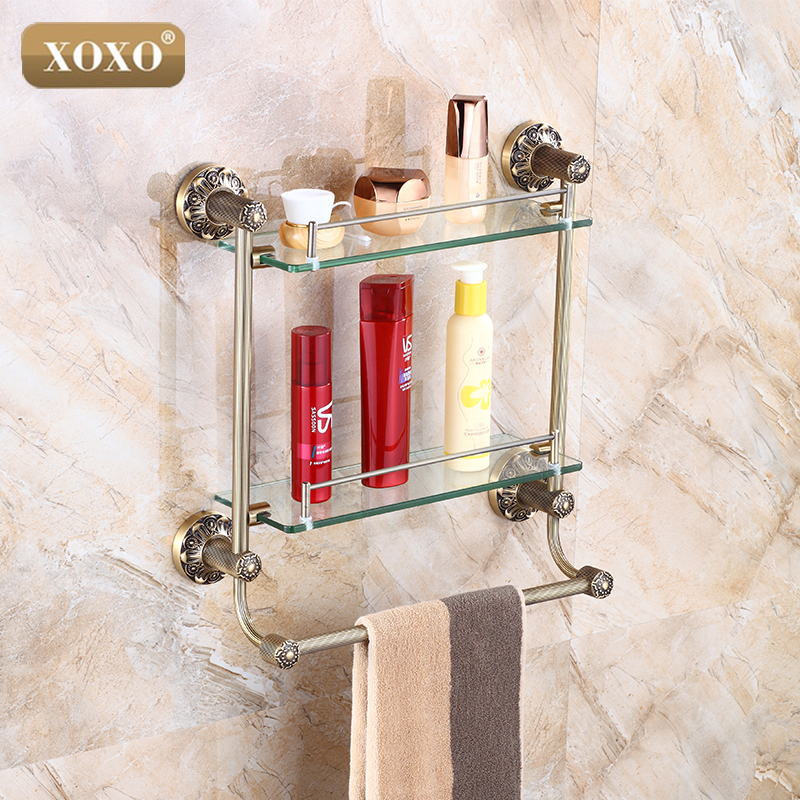 Bathroom accessories solid brass antique finish with - Bathroom accessories glass shelf ...