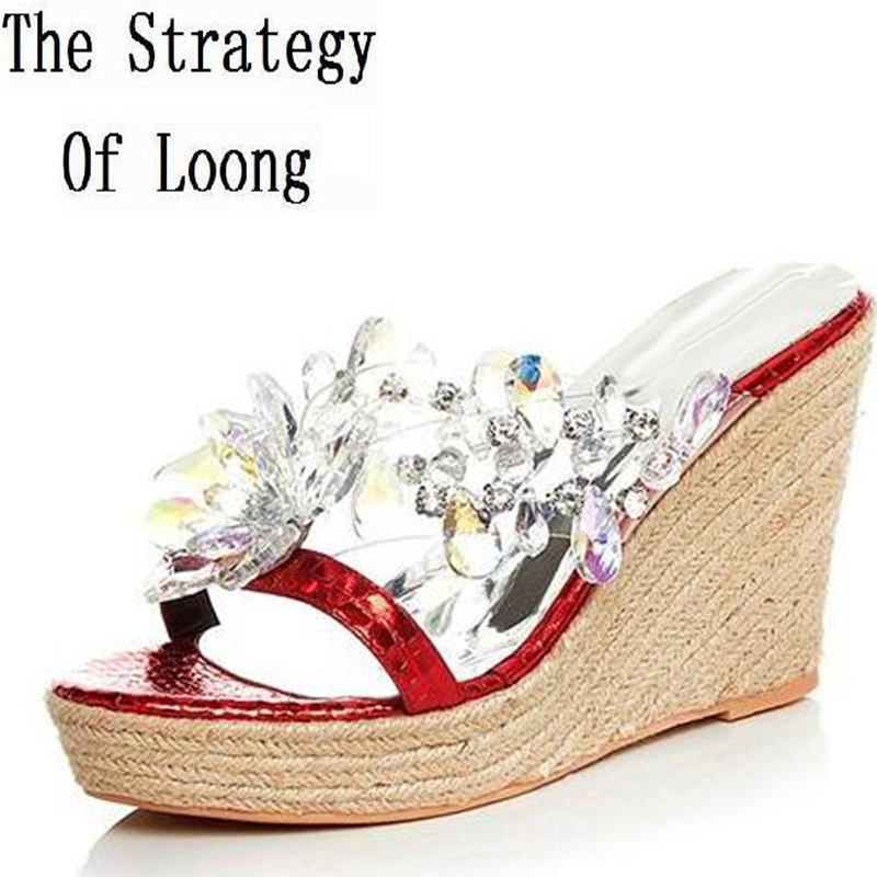 Women 2016 Summer New Straw Plaited Article Genuine Leather Slippers Wedges High Heel Open The Toe Fashion Rhinestone Sandals
