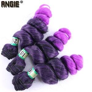 Черные и фиолетовые Омбре свободные волнистые пучки волос 16-20 дюймов 210 г синтетические волосы для наращивания tissage волокна для плетения вол...