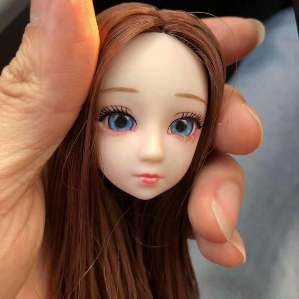 1/6 <font><b>bjd</b></font> Doll Accessories Head Blue&Purple 3D Eyes For Long Wig Hair Female Naked Nude 30cm Dolls Toy For Girls Head without Body image