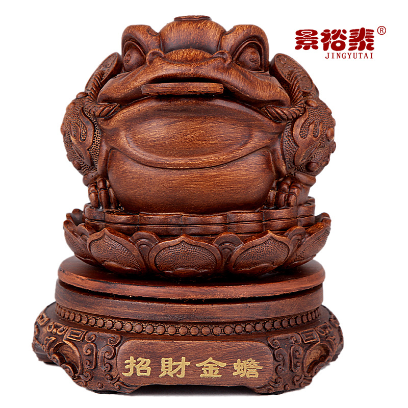 Extra small imitation wood carving three-legged toad toad ornaments Lucky Feng Shui lucky mascot desk ornaments