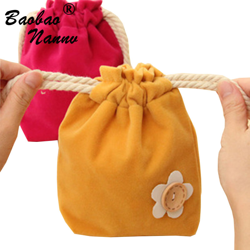 Girls Mini Lovely Flower Storage Bags Cute Portable Lady Drawstring For Woman Sanitary Towel Panty Liner Pad Laundry Cases