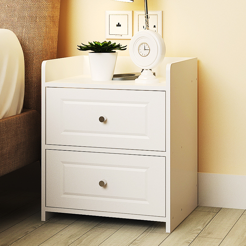 LK601 Simple Bedroom Storage Cabinet With Drawer Modern Wooden Nightstand Easy Assembly Bedside Table Round Handle Desk