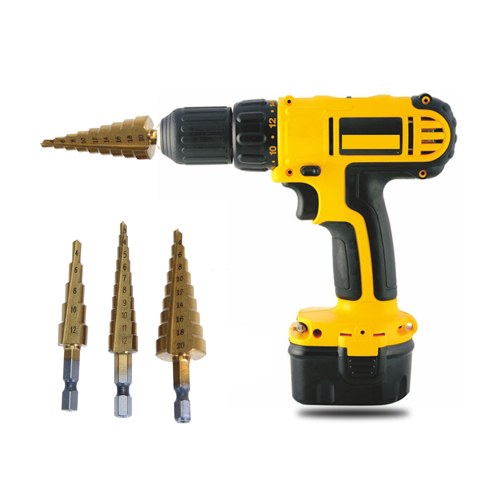 3pcs/set Drill Bit Titanium Step Core Drill Bits 3-12mm 4-12mm 4-20mm HSS High Speed Steel Wood Metal Drilling  Power Tools TH4 step drill power tools 3pc drill bit wood countersink hss step drill bits set woodworking power tools metal hole opener