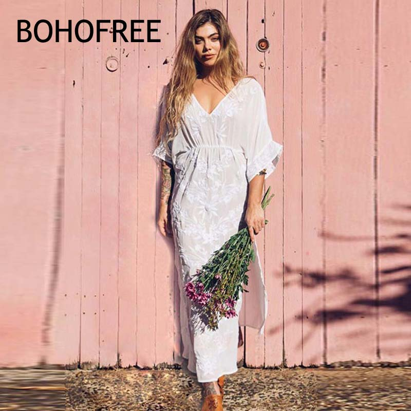 BOHOFEE White Floral Embroidery Long Robe V Neck Split Hem Holiday Beach Vestidos Women Maxi Hippie Boho Style Embroidered Dress viven leigh boho floral print long dress retro bohemian maxi dress sexy ethnic deep v neck beach dresses hippie robe