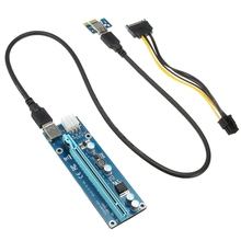 4pcs USB3.0 PCI-E 1x To16x Extender Riser Card Adapter Power Cable New SATA 15pin Male to 6pin Power Cable For ETH GPU Mining