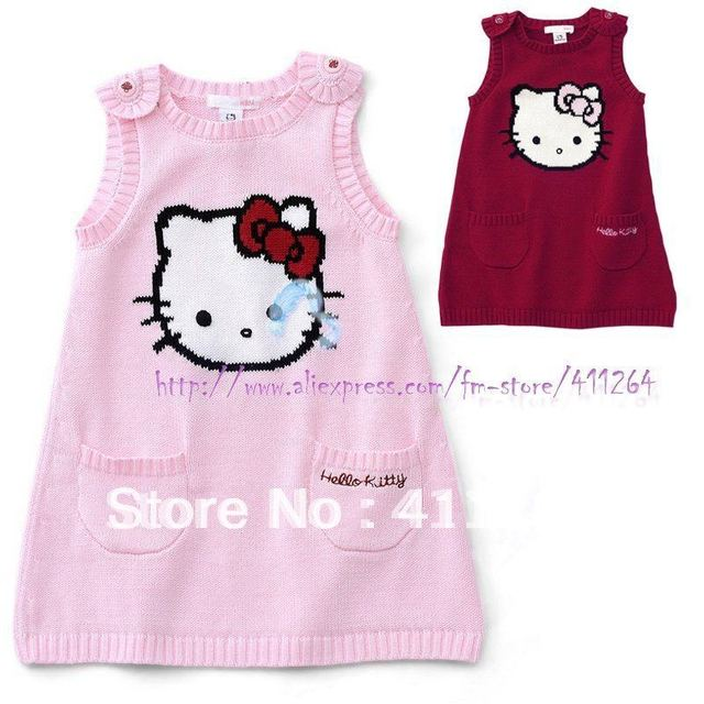 0f59388bb33 5pcs/lot(0-2Y) Wholesale children clothes kids infant baby girls knit dress  with petti hello kitty sweater dress Free shipping