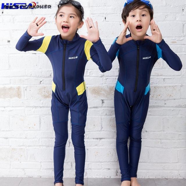 Hisea children's Rash Guards fabric Kids surf Wetsuits Snorkeling warmness long Sleeve Swimming Diving Suit Jumpsuit Swimwear