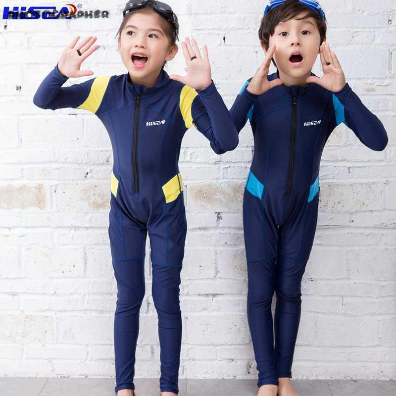 Surf Hisea Rash Calidez Manga Niños De Larga Buceo Baño Natación Guards Traje Tela HIWE29D