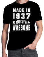 80th Birthday 80 Years Of Being Awesome Party Gift Present 1937 Black T Shirt Casual T