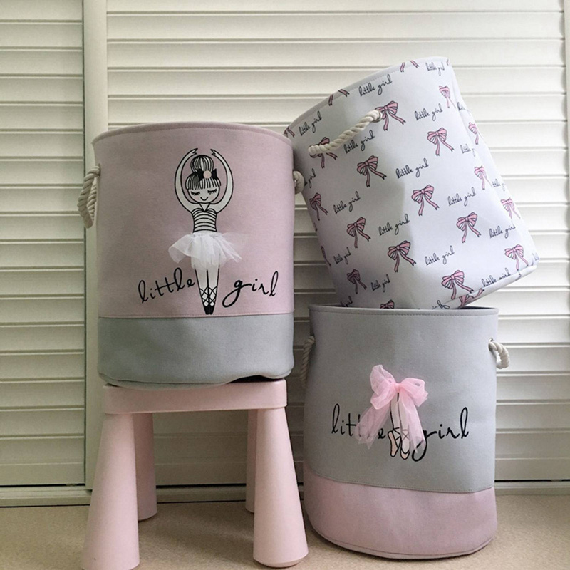 35*40cm Pink Laundry Basket For Dirty Clothes Cotton Ballet Girl Bow Print Toys Organizer Home Storage & Organization