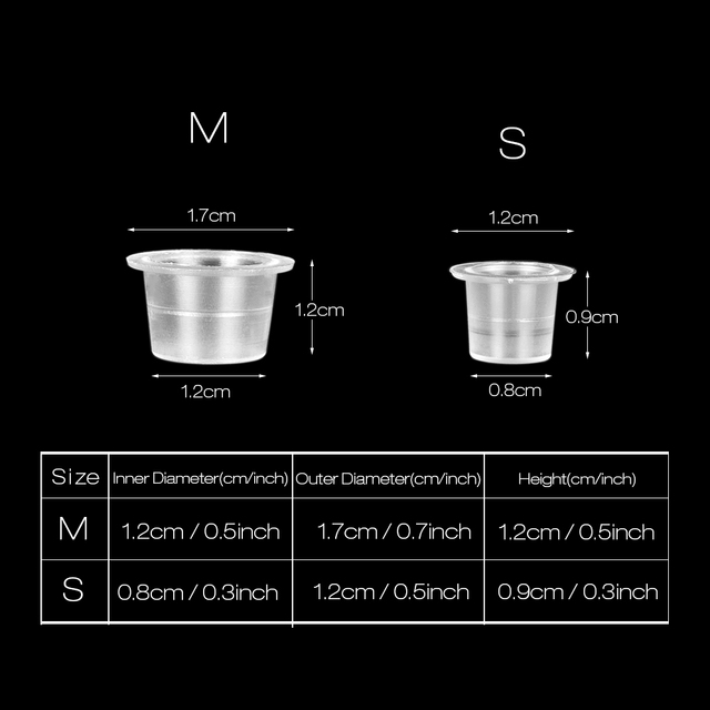 Mix 500pcs S/M/L Tattoo Accessories Supplis Disposable Plastic Microblading Tattoo Ink Cup Cap Pigment Clear Holder Container 4