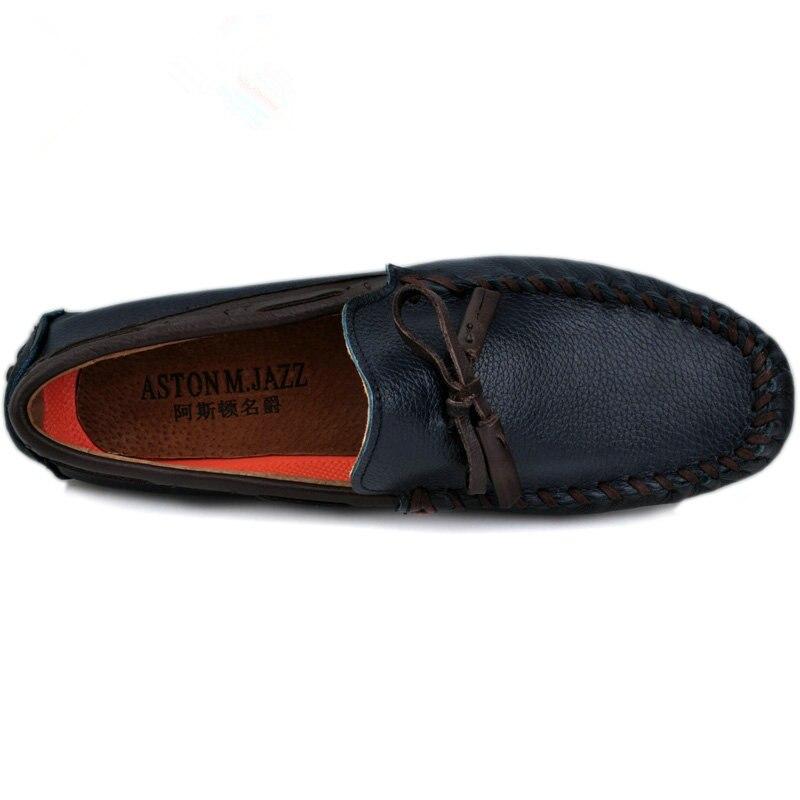 6 colores marca de cuero genuino hombres transpirable Slip On Tassel mocasines Casual zapatos de conducción hombre de negocios verano mocasines-in Zapatos náuticos from zapatos    2