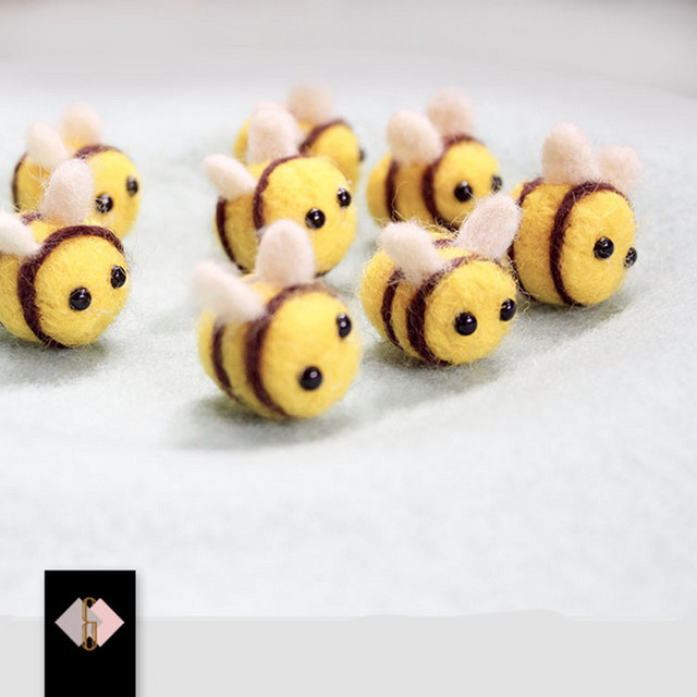 10pcs lovely mini bee wool felt 100 handmade sewing for for Bee decorations for the home