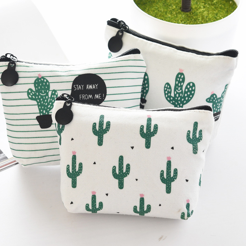 Apprehensive Hot Selling Small Fresh Canvas Zero Wallet Cute Zipper Cactus Coins Korean Version Little Girl Cactus Key Bag Elegant Appearance
