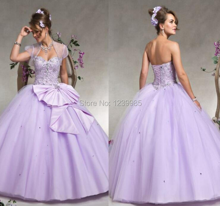 a61920c0391 Lovely 2017 Light Purple Ball Gown Quinceanera Dresses Long Sweet 16 Dresses  Sweetheart With Jacket Tulle Lace Up For 15 M-in Quinceanera Dresses from  ...
