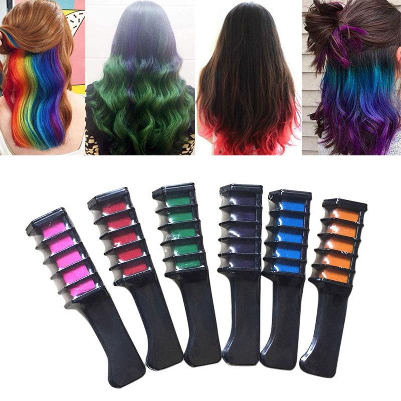Perfectostore 6 Pcsset Temporary Hair Chalk Color Comb Dye Kits