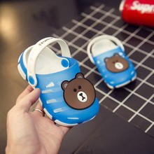 baby kids girl sandals hole shoes rubber cartoon bear + rabbit summer girl Breathable bath slides Non-slip gift for kids
