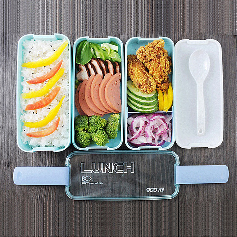 New Fashion GH Lunch Bento Box With 3 Food Divided Layers Food Heated Thermos Container For Children Adults Kitchen Dining Tools