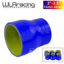 """WLR RACING bleu et jaune 2 """" 2.5"""" 51mm 64mm tuyau en SILICONE réducteur droit raccord de menuisier avec LOGO PQY WLR SH02025 QY"""