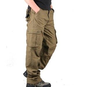 Image 1 - 男性カーゴパンツ 2019 秋の戦術的なパンツカジュアル綿のズボンの男性マルチポケット軍トラックパンツ男性パンタロンオム