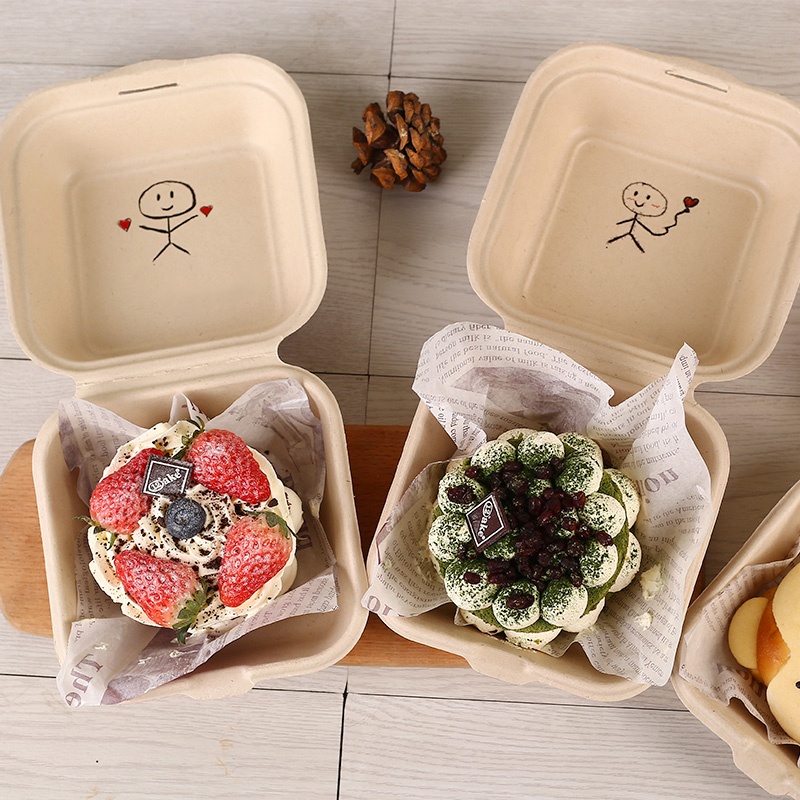 Biodegradable Cake Case Disposable Hamburger Package Box Restaurant Takeaway Food Box Hand-painted Cake Container Mini Bento 25p