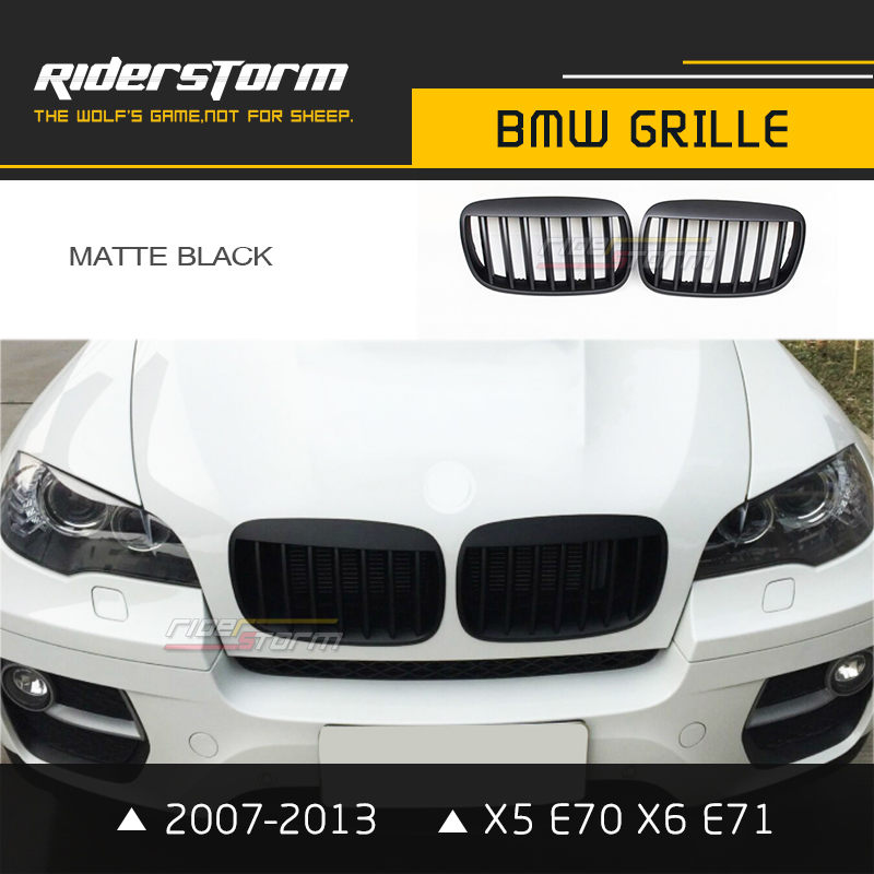 Carbon Fiber ABS Auto Grill For BMW X5 E70 X6 E71 Grille Front Mesh Kidney Grill 2007-2013 Tuning Custom Glossy Matte Black 2007 2013 kidney shape matte black abs plastic e70 e71 original style x5 x6 front racing grill grille for bmw e70 x5 bmw x6