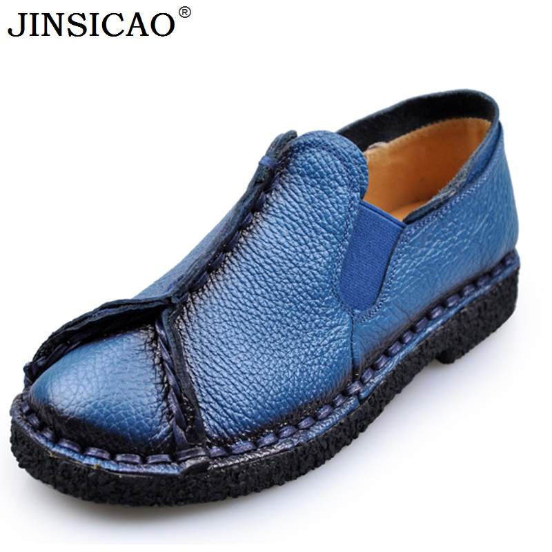 2018 New Retro Women Flats Handmade Shoes Genuine Leather Round toe Ladies Shoes Soft bottom Casual Shoes Woman Moccasins 2018 new retro women flats handmade shoes genuine leather round toe ladies shoes soft bottom casual shoes woman moccasins