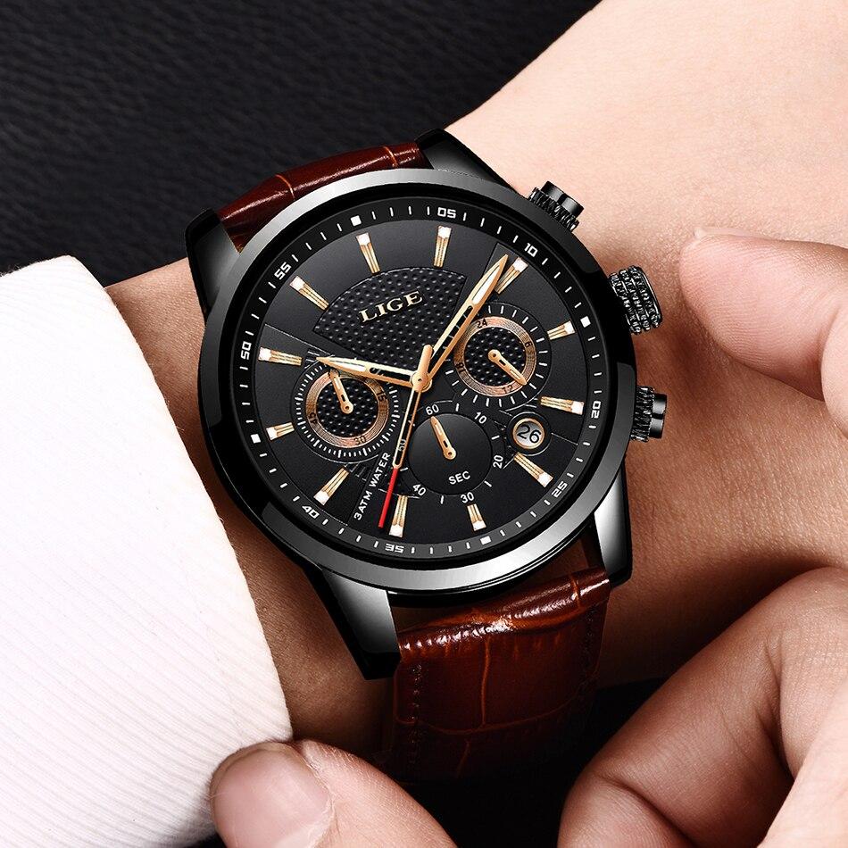 LIGE 2020 New Watch Men Fashion Sport Quartz Clock Mens Watches Brand Luxury Leather Business Waterproof Watch Relogio Masculino